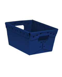 "Corrugated Plastic Nestable Tote 15.5"" x 11.5"" x 8"" Blue"
