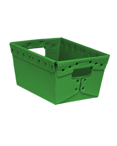 "Corrugated Plastic Nestable Tote 18"" x 18"" x 11"" Green"