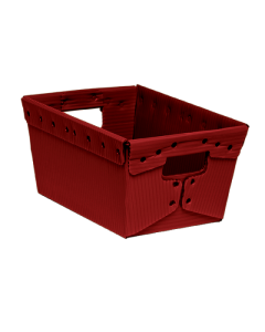 "Corrugated Plastic Nestable Tote 15.5"" x 11.5"" x 8"" Red"