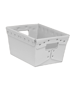 "Corrugated Plastic Nestable Tote 15.5"" x 11.5"" x 8"" White"