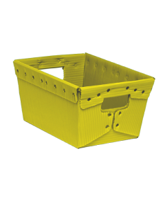 "Corrugated Plastic Nestable Tote 18"" x 18"" x 11"" Yellow"