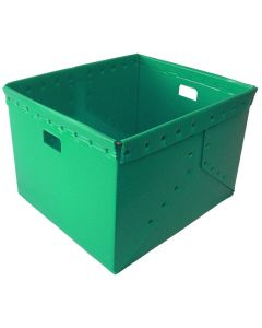 "Corrugated Plastic Nestable Tote 21"" x 19"" x 14"" Green"