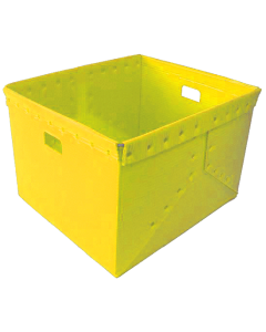"Corrugated Plastic Nestable Tote 21"" x 19"" x 14"" Yellow"