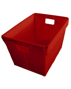 "Corrugated Plastic Postal Nesting Tote 18"" x 13"" x 12"" Red"