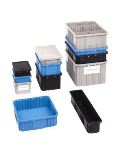 "Metro Divider Tote Box, Blue Static Dissipative (BAS) 26.3"" x 6.3"" x 5.0"""