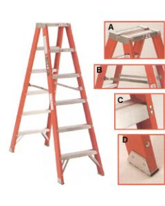 Michigan Ladder 8-Foot, 300 Pound Duty Rating,  Type 1A Fiberglass Double Front Stepladder