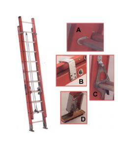 "Michigan Ladder 16-foot, 300 Pound Rated, 18""W x 7""D x 100.5""H, 13' Maximum Extended Type 1A Fiberglass Extra Heavy Duty Extension Ladder"