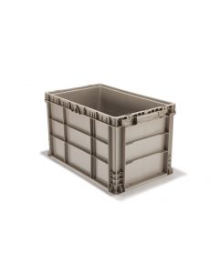 "Ted Thorsen 24"" x 15"" x 14"" Plastic Straight Wall Stacking Container - Gray"