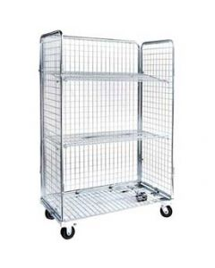 "Nashville Wire Open Front Collapsible Wire Roll Cart 48"" x 24"" x 70"" Zinc Plated Mesh"