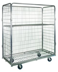 "Nashville Wire Open Front Collapsible Wire Roll Cart 63"" x 29"" x 72"" Zinc Plated Mesh"