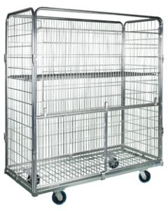 "Nashville Wire Gated Front Collapsible Wire Roll Cart 63"" x 29"" x 72"" Zinc Plated Mesh"