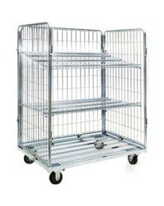 "Nashville Wire Open Front Collapsible Wire Roll Cart 48"" x 32"" x 59"" Zinc Plated Mesh"