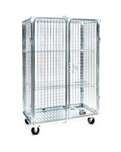 "Nashville Wire Double Door Front Collapsible Wire Roll Cart 48"" x 24"" x 71"" Zinc Plated Mesh"