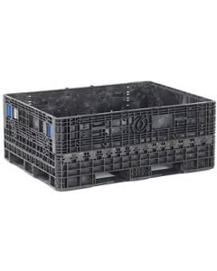 """Heavy Duty Extended Length Bulk Container 64"""" x 48"""" x 34"""", Vented Deck, Doors on 64"""" Sides"""