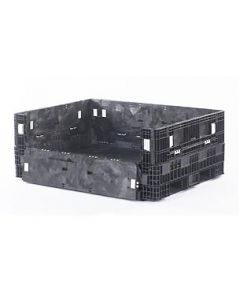 "Heavy Duty Extended Length Bulk Container 65"" x 48"" x 25"", Solid Deck, Flat Panels, Doors on All Sides"