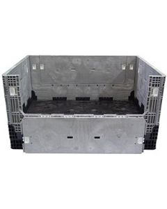 """Heavy Duty Extended Length Bulk Container 65"""" x 48"""" x 34"""", Solid Deck, Doors on 48"""" Sides"""