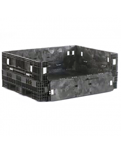 "Heavy Duty Extended Length Bulk Container 56"" x 48"" x 25"", Solid Deck, Doors on All Sides"