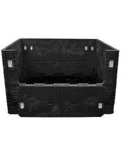 "Heavy Duty Extended Length Bulk Container 56"" x 48"" x 34"", Solid Deck, Doors on 48"" Sides"