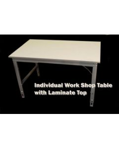 "Ted Thorsen Individual Workshop Table with 24"" x 120"" X 1"" White Laminated Work Surface"