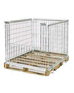 "Nashville Wire 40"" x 48"" x 34"" Stackable Collapsible Four Wall Pallet Surround"