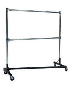 "Ted Thorsen ""Z"" Design Nesting Garment Rack - Double Rail - 5' Base x 5' Upright (63"" x 23"" x 67"")"