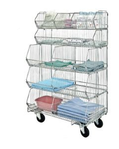 Quantum Mobile Modular Wire Stacking Basket Unit - Consists of (5) Baskets, (5) Dividers and (1) Dolly