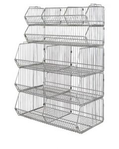 Quantum Stationary Modular Wire Stacking Basket Unit - Consists of (5) Baskets with Dividers