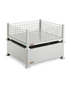 "Nashville Wire 38"" x 38"" x 16"" Stackable Rigid Container with Solid Floor and Mesh Walls"