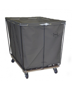Steele Canvas 12 bu. Removable Style Gray Vinyl Hamper Truck - Corner Mounted Casters