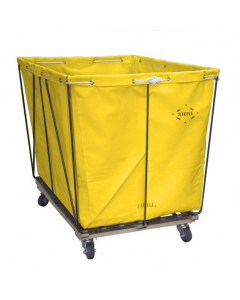 Steele Canvas 10 bu. Removable Style Yellow Vinyl Hamper Truck - Corner Mounted Casters