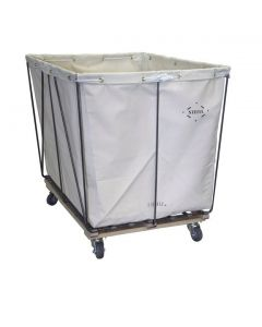 Steele Canvas 10 bu. Removable Style White Canvas Hamper Truck - Corner Mounted Casters