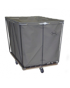 Steele Canvas 12 bu. Removable Style Gray Vinyl Hamper Truck - Diamond Mounted Casters
