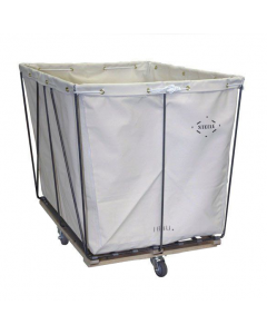 Steele Canvas 10 bu. Removable Style White Canvas Hamper Truck - Diamond Mounted Casters
