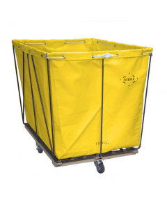 Steele Canvas 10 bu. Removable Style Yellow Vinyl Hamper Truck - Diamond Mounted Casters