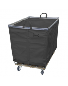 Steele Canvas 10 bu. Permanent Style Gray Vinyl Hamper Truck - Corner Mounted Casters
