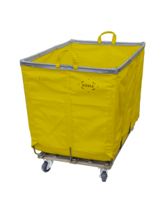 Steele Canvas 6 bu. Permanent Style Yellow Vinyl Hamper Truck - Corner Mounted Casters