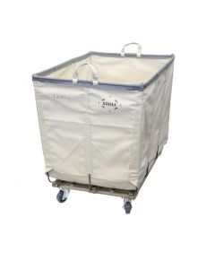 Steele Canvas 10 bu. Permanent Style White Canvas Hamper Truck - Corner Mounted Casters