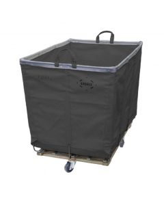 Vinyl 12 Bushel Gray Hamper Truck - Diamond Mounted Casters