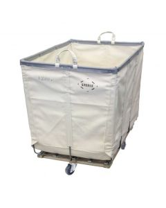 Canvas 12 Bushel White Hamper Truck - Diamond Mounted Casters