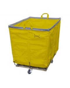 Steele Canvas 6 bu. Permanent Style Yellow Vinyl Hamper Truck - Diamond Mounted Casters