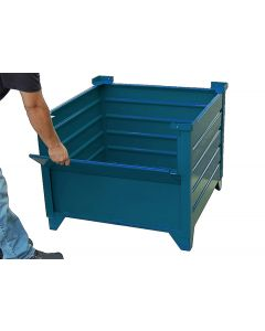 "Corrugated Steel Bulk  Bins 35"" x 35"" x 24""  Blue 1/2 Drop Gate"