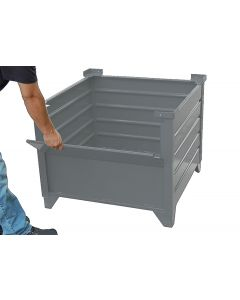 "Corrugated  Steel Bulk Bins 48"" x 48"" x 24"" Grey 1/2 Drop Gate"