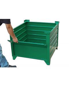 "Corrugated  Steel Bulk Bins 48"" x 48"" x 24"" Green 1/2 Drop Gate"