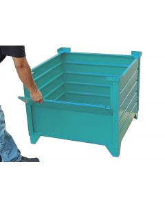 "Corrugated Steel Bulk Bins 24"" x 30"" x 24"" Teal 1/2 Drop Gate"