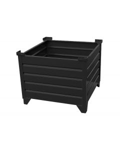 "Corrugated  Steel Bulk Bins 48"" x 48"" x 24"" Black"