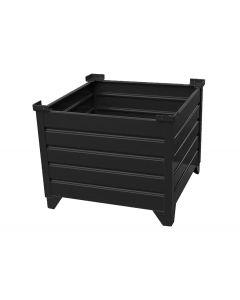 """Corrugated  Steel Bulk Bins 48"""" x 48"""" x 24"""" Black"""
