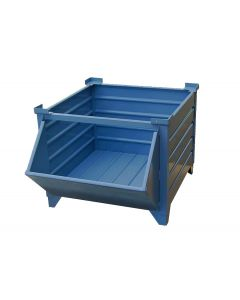 "Corrugated  Steel Bulk Bins 48"" x 48"" x 24"" Blue w/ Hopper Front"
