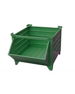 "Corrugated  Steel Bulk Bins 48"" x 48"" x 24"" Green w/ Hopper Front"