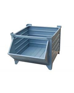 """Corrugated  Steel Bulk Bins 48"""" x 48"""" x 24""""  Unpainted w/ Hopper Front"""