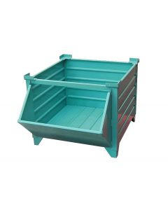 "Corrugated  Steel Bulk Bins, 48"" x 48"" x 24"", Hopper Front, Teal"